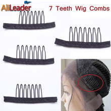 Alileader 12PCS Black Best Clips For Hair Extensions Stainless Steel Wig Combs Caps Cheap Factory Supply