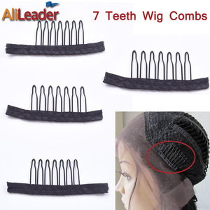 Alileader 12PCS Black Best Clips For Hair Extensions Stainless Steel Wig Combs For Wig Caps Cheap Clips For Wig Factory Supply(China)