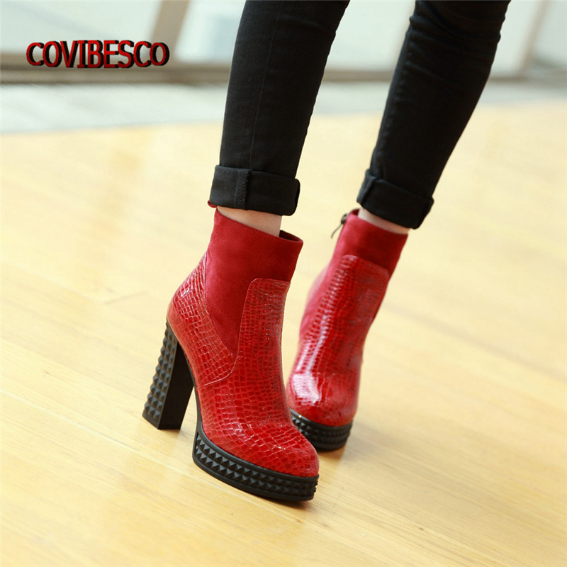 ФОТО New Women High Boots Sexy Round Toe Ankle Boots Autumn Winter Zip Platform Martin Boots Black Red Blue High Quality Short Shoes