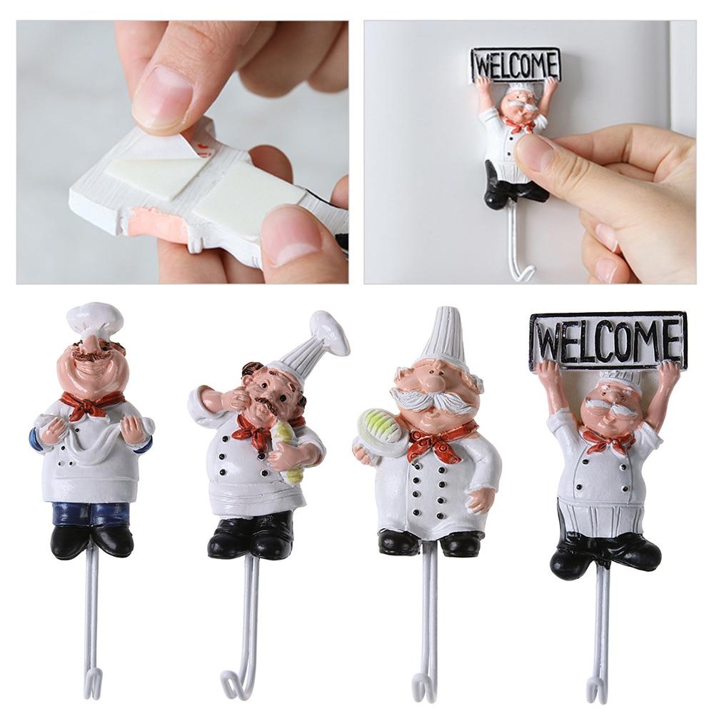 Creative Cartoon Chef Shape Stainless Steel Hooks Wall Door Clothes Coat Hat Hanger Kitchen Rustproof Towel Hooks