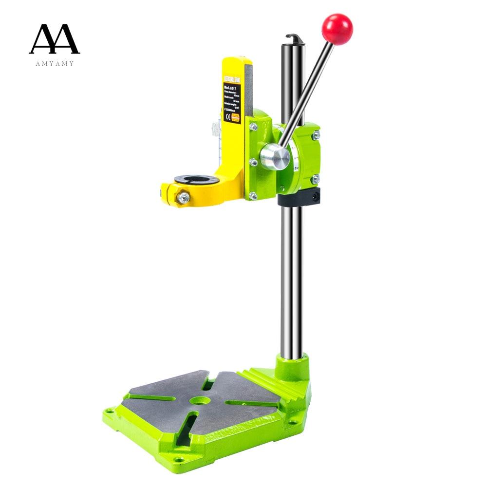 Электрическая дрель AMYAMY, стол-подставка для сверл, верстак-зажим для сверления цанги 35 43 мм 0 90 градусов