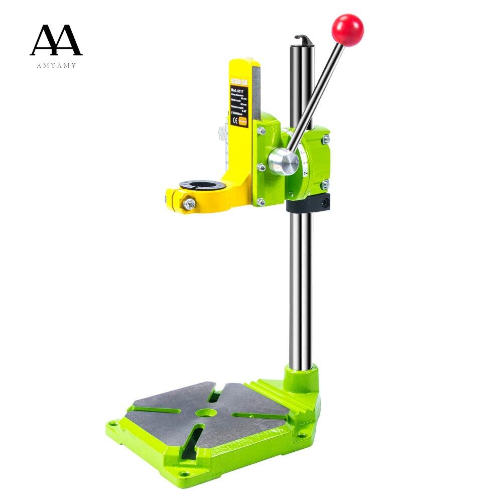 AMYAMY Elektrische power Bohrmaschine Stand tisch für Bohrer Werkbank Klemme für Bohren Collet 35 43mm 0 90 grad schiff von USA