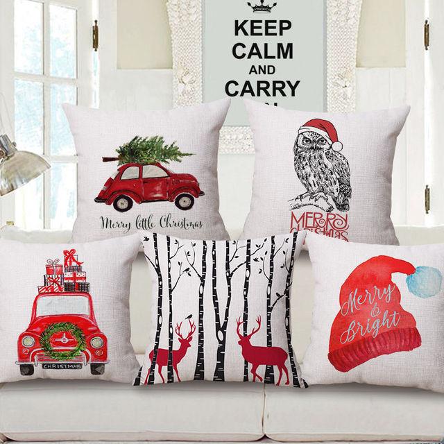 Christmas Series Drive Car One Side Printing Deer Home Decor Sofa Owl Seat Decorative Cushion