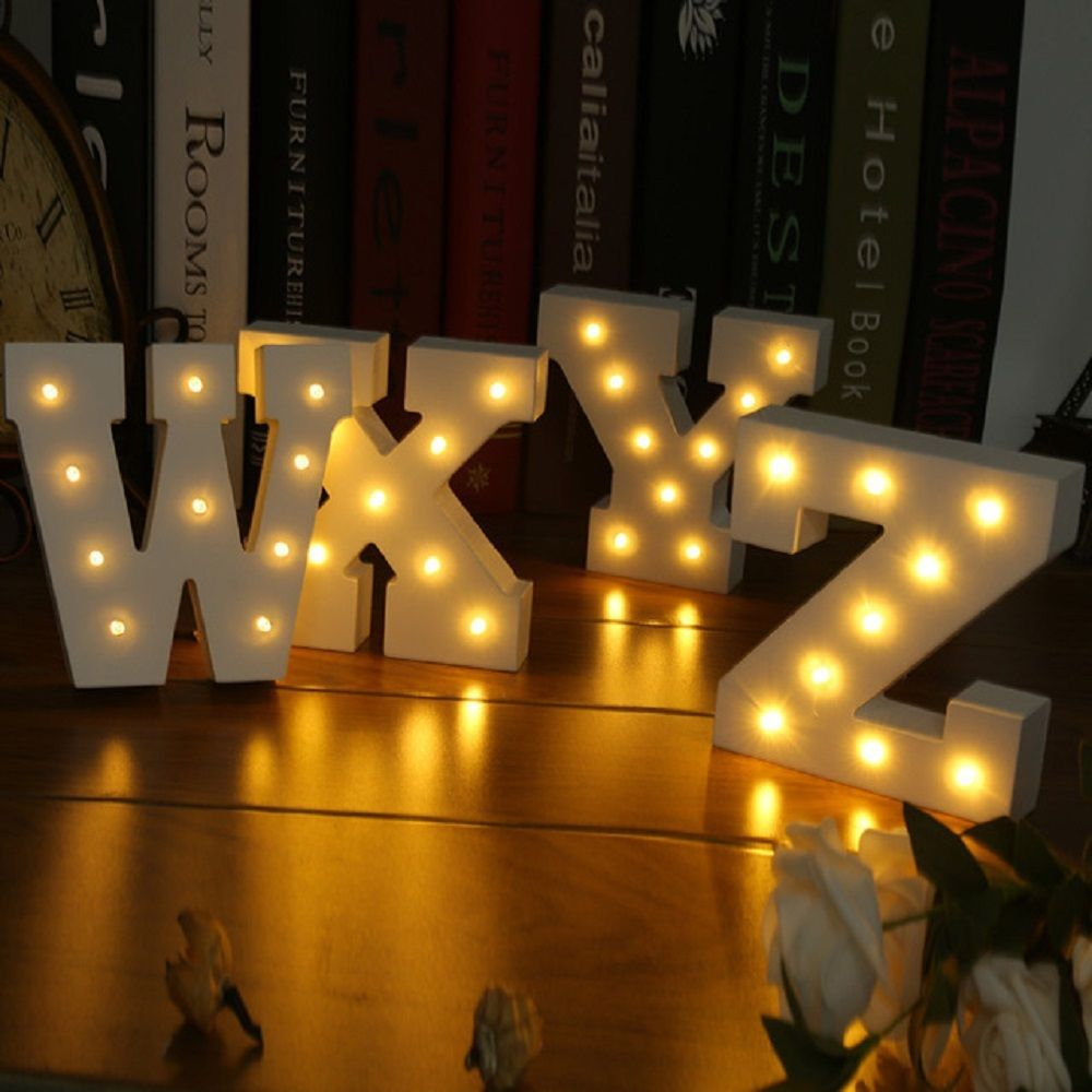 Wedding Event Decoration Gifts White Wooden Letter LED Marquee Sign Alphabet Light Indoor Wall Light Up Night Light best price led night light lamp kids marquee letter light vintage alphabet circus style light up christmas lamp white 12inch