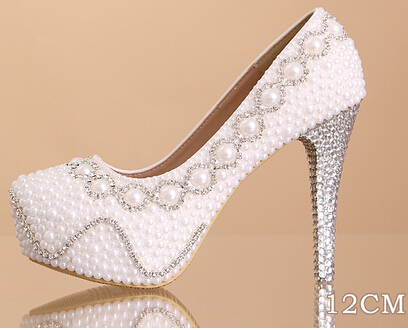 ФОТО Size 34-39 Best Selling Super High Heel 14CM Sexy Pumps Women High Heels Lady Dress Shoes Pearl Beading Shoes 2 Colors R203-1