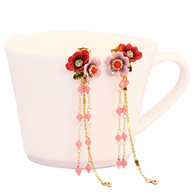 Les Nereide Winter Garden Series Pink Peony Flowers Earring For Women Luxurious Party Accessories New Arrival Freeshipping