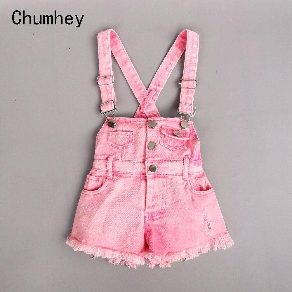 Chumhey 2-10T Kids Overalls Summer Girls Suspender Denim Shorts Pink Jeans Children Clothes Kawaii Bebe Jumpsuit Child Clothing