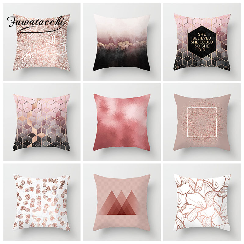 Fuwatacchi Geometric Printed Cushion Cover Pink Diamond Nordic Style Striped Pillow Home Decorative Throw Pillowcases
