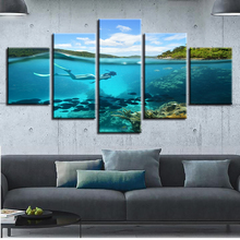 Living Room Decor Modular Canvas Picture Poster 5 Pieces Sea Bed Diving And Fish Seascape Paintings HD Prints Framework Wall Art
