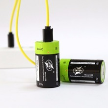 2pcs ZNTER 1.5V 3000mAh Batteries Rechargeable Lipo A+ grade C Size Micro USB Batteria + One Drag 1/2/4 Charging Cable