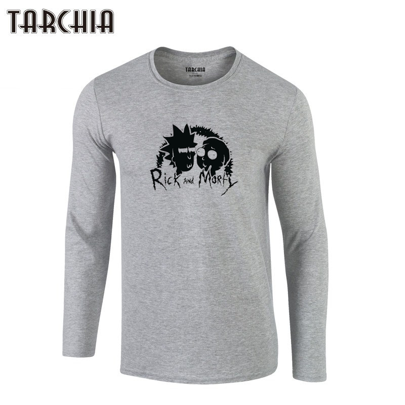 TARCHIA 2019 New Fahion tops teespullover T Shirts Men's Long Sleeve T-Shirt 100% Cotton T Shirt Plus Size rick and morty