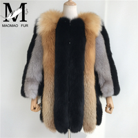 Women Warm Real Fur Coats Colorful Lady Natural Fox Fur Jackets for Cold Winter Female Thick Fur Outerwear Clothes