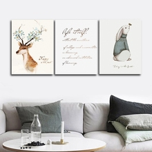 Elk Polar bear Nordic Wall Pictures Poster Print Canvas Painting Calligraphy Decor for Living Room Bedroom Home Frameless