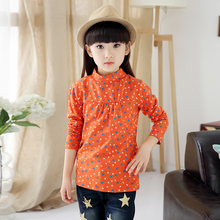 2016 spring and autumn girls child long-sleeve turtleneck t-shirts lovely heart print baby t-shirt girl top