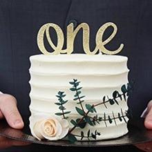 Золотой блестящий Топпер для торта для маленьких мальчиков и девочек, один первый день рождения, вечерние украшения для детского душа, аксе...