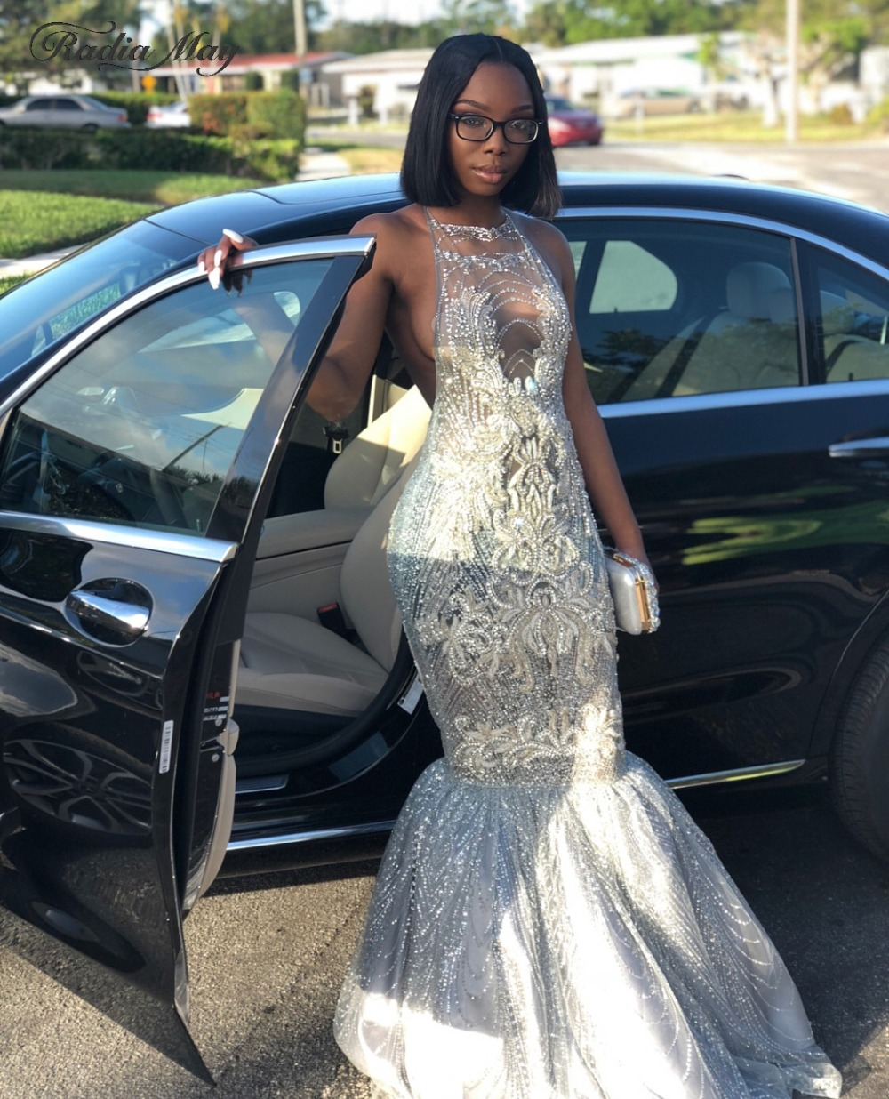 Sexy Halter Backless Glitter Sequin Silver Prom Dresses Mermaid Black Girls Long Graduation Dress Crystal African Formal Gowns Buy At The Price Of 169 60 In Aliexpress Com Imall Com