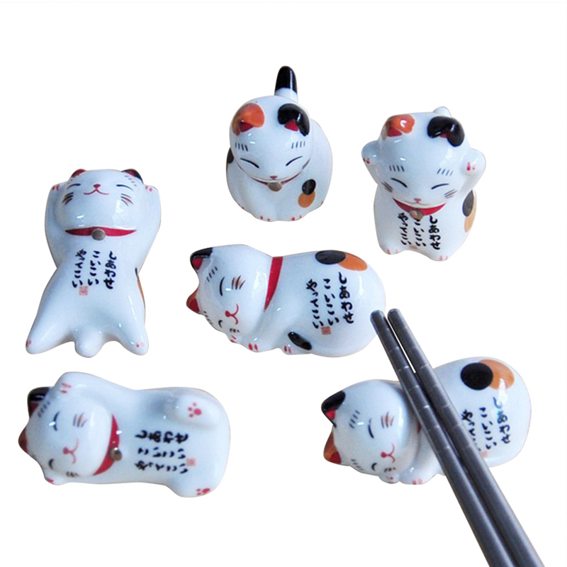 Lucky Cat <font><b>Chopsticks</b></font> Holder Japanese Ceramic <font><b>Chopsticks</b></font> Care Cartoon Sleep Animal Kitty Stand Home Hotel Tableware Supplies P20 image