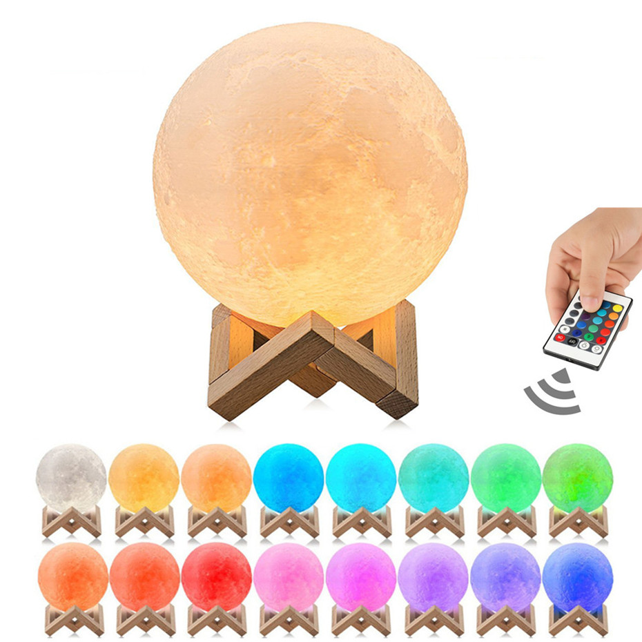 3D Print Moon Lamp 16 Colors Change Moon Light Remote Control Touch Switch Toilet Light Moon Lamp Led Bedroom Table Desk