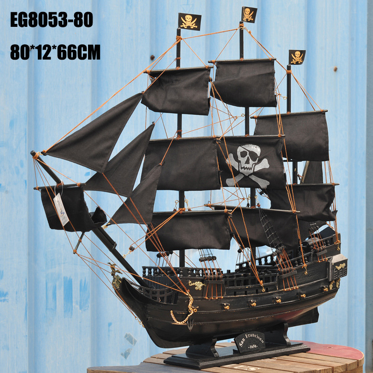 <font><b>Home</b></font> <font><b>Decoration</b></font> Mediterranean Style 80cm Caribbean Pirate Black Pearl Ship Model Birthday Gift Mediterranean Style Desk Ornament