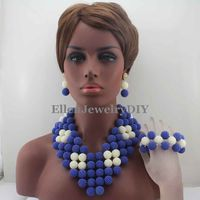 Surprising Royal Blue/White African Beads Rushed Classic Women Jewelry Set New Arrived Nigerian Set Necklace African BeadsW13220