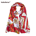 Kakaforsa Fashion Women Satin Silk Scarf High Quality Soft Female Shawl Hijab National Style Patchwork Print Foulard for Ladies