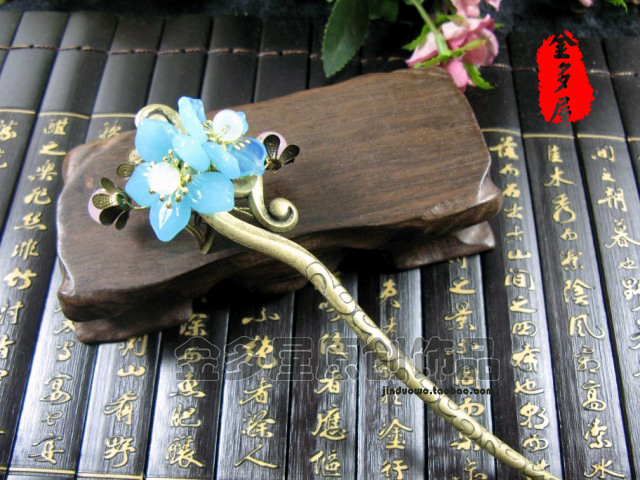 Bronze color tassel hair stick classical costume handmade accessories hanfu cheongsam hair accessory hair accessory rhinestone rose leaf faux gem brooch