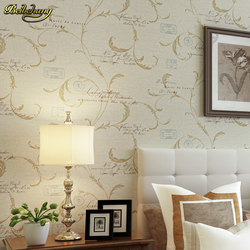beibehang papel de parede  Buttercup sweet potato leaves European wall paper alphabet wallpaper bedroom living room TV backdrop large mural papel de parede european nostalgia abstract flower and bird wallpaper living room sofa tv wall bedroom 3d wallpaper