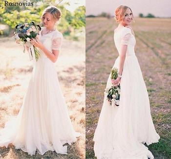 Country Garden Wedding Dresses 2019 V Neck Short Sleeves Sweep Train Modern Simple Chiffon Bridal Gown Vestido de novia Custom фото