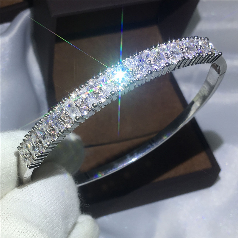2017 Fashion Baguette Cuff Bridal bracelet AAAAA Zircon Cz White Gold Filled Engagement Bangle for women wedding accessaries
