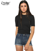 New Fashion Summer Women High Quality Simple Casual Short Sleeve O Neck Shirts Female Casual Tops