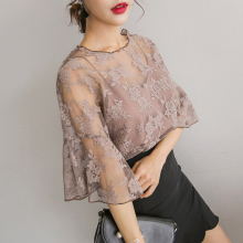 New Hot fashion Women O-Neck Tops wild small tape embroidered chiffon blouse  Crochet lace Two-piece Trumpet sleeves