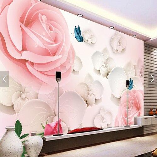 freies verschiffen 3d stereo kundenspezifische rosa rose tapete wandbild schlafzimmer tv hintergrund korridor halle vliestapete - Rosentapete Schlafzimmer
