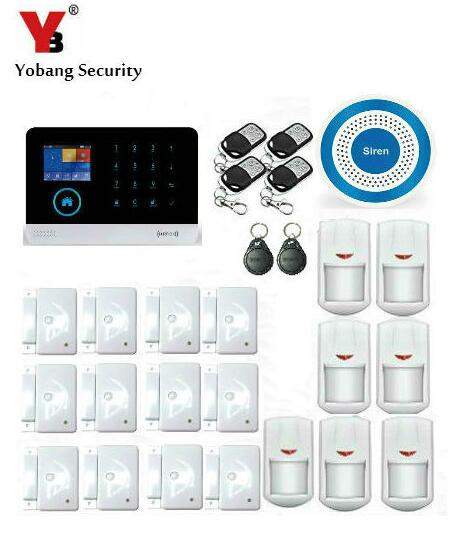 Yobang Security Home Security 3G SMS Alarm System Metal Remote Control Wireless Blue Siren APP Control WIFI Alarmas 16 ports 3g sms modem bulk sms sending 3g modem pool sim5360 new module bulk sms sending device