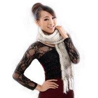 Nuovo MS silenziatore sciarpa genuina pelliccia di visone mano a maglia visone sciarpe all'ingrosso e al minuto