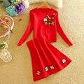 De punto rojo traje de falda de 2016 Mujeres de la Marca de Manga Larga Del grano Del Clavo lentejuelas tejer 2 Unidades Set Mujeres Suéter Y Mini falda Paraguas