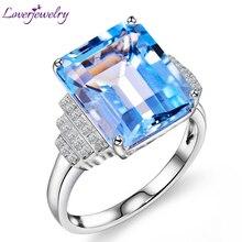 Loverjewelry Мода Стиль кольца для Для женщин Винтаж изумрудная огранка природных алмазов топаз драгоценный камень кольцо 14K белое золото, 10x12 мм