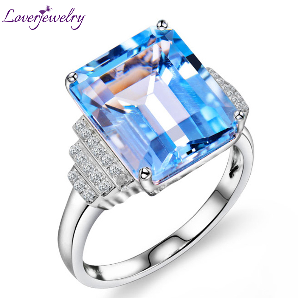 Vintage Emerald Cut Natural Diamond Topaz Ring Solid 14Kt White Gold 10x12mm R00322 недорго, оригинальная цена