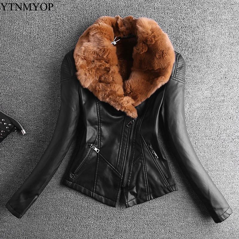 YTNMYOP New Fashion Slim Rex Rabbit Real Fur Collar Thickening Women   Leather   Jacket Autumn Winter Thick   Leather   Coats Short
