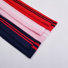 New arrival 2pcs/set colored Strip Series cotton knitted  fabric elastic collar cuffs hem bottom collar thread mouth fabric