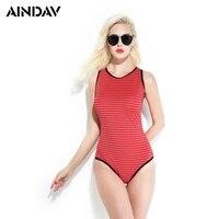 Brand New One Piece Swimsuit Women Sexy Swimwear Vintage Striped Style Bikini Back Zipper One Piece