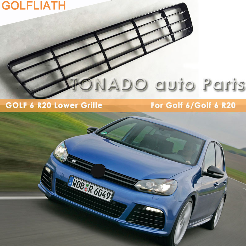 GOLFLIATH R20 style ABS glossy black lower Grille front bumper grill For Volkswagen VW Golf 6 MK6 GTI R20 for 10 14 vw golf tdi jetta mk6 honeycomb mesh lower front grille grill abs usa domestic free shipping hot selling