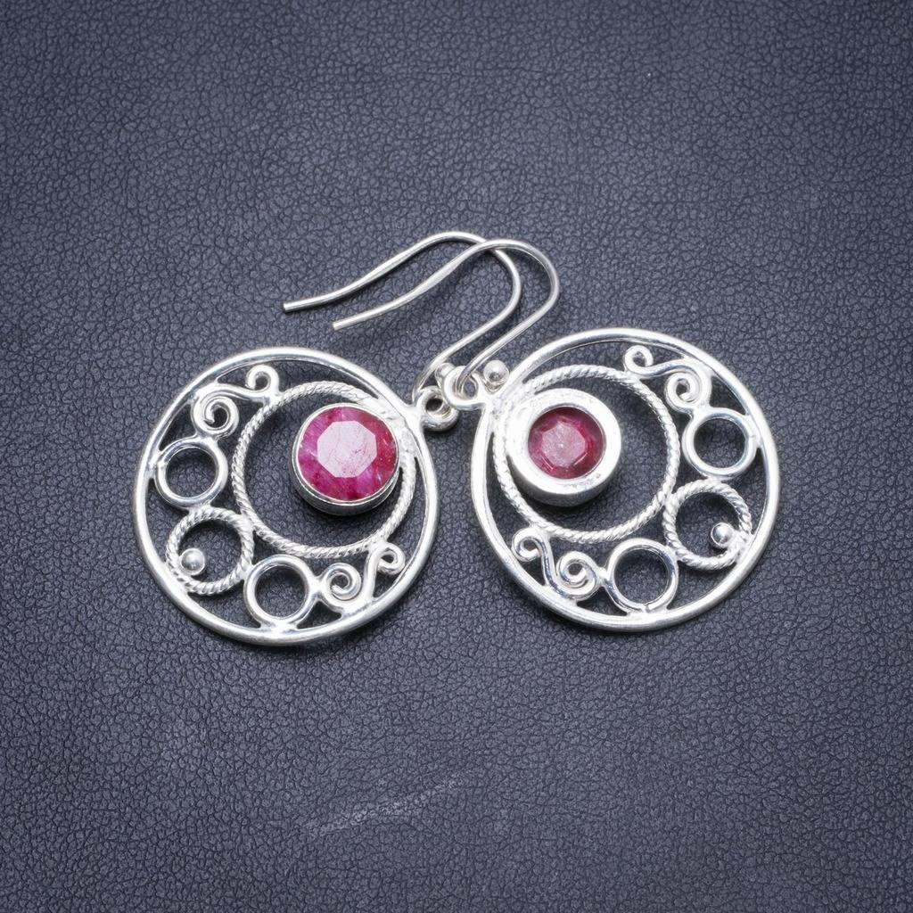 Natural Cherry Ruby Handmade Unique 925 Sterling Silver Earrings 1.5 Y2624