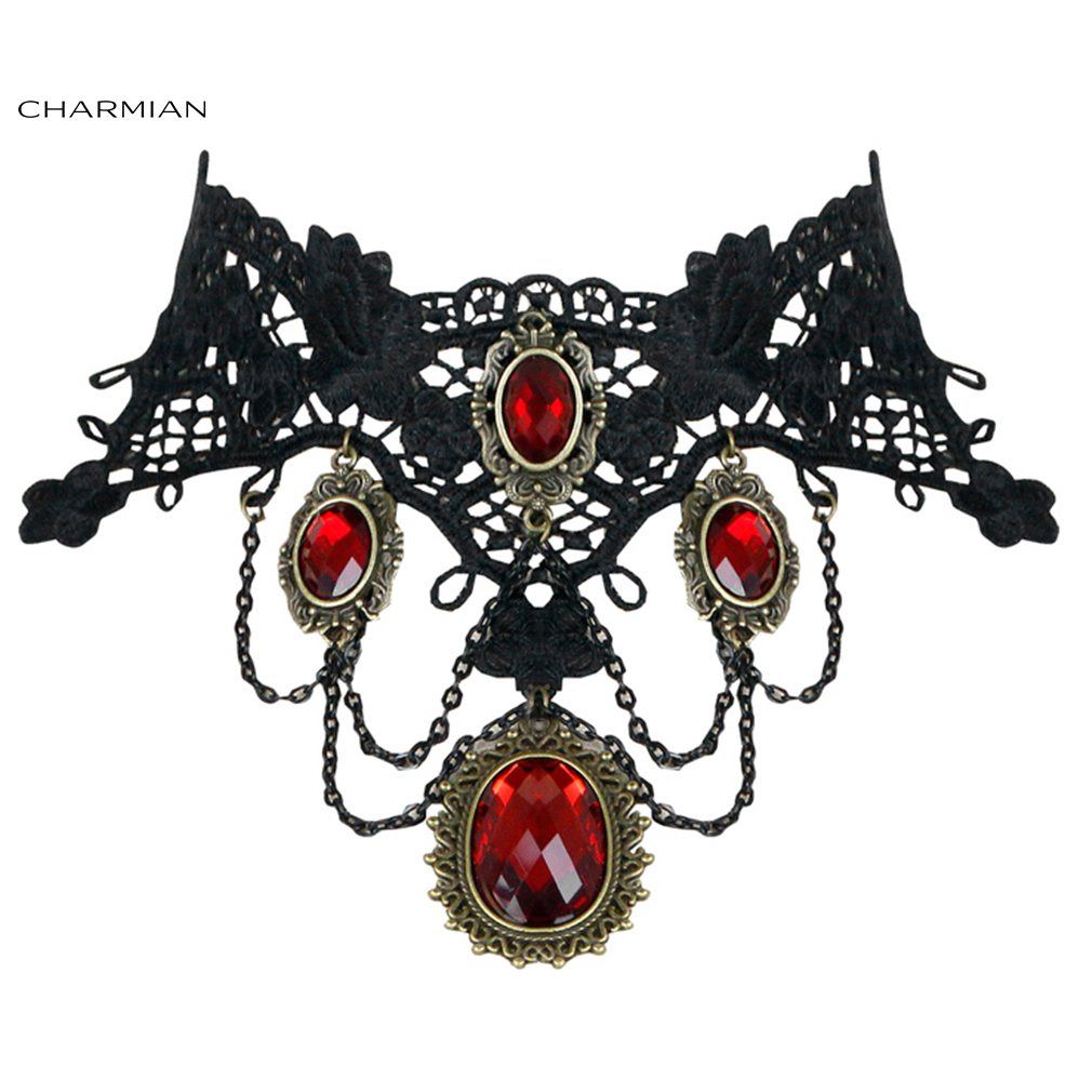 Charmian Vintage Gothic Victorian Lace Red Gem Choker Necklace Accessories