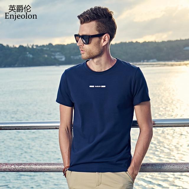 Enjeolon marca 2017 nova impressão do logotipo de manga curta camiseta  masculina fbcadd4de14ae