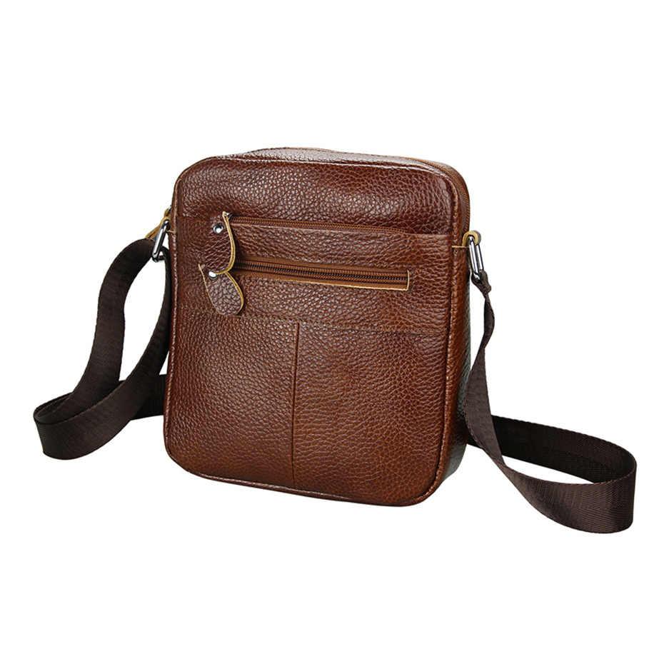 647f5b9dd1da Мужская деловая сумка-мессенджер черная кожаная сумка через плечо для  мужчин из натуральной кожи