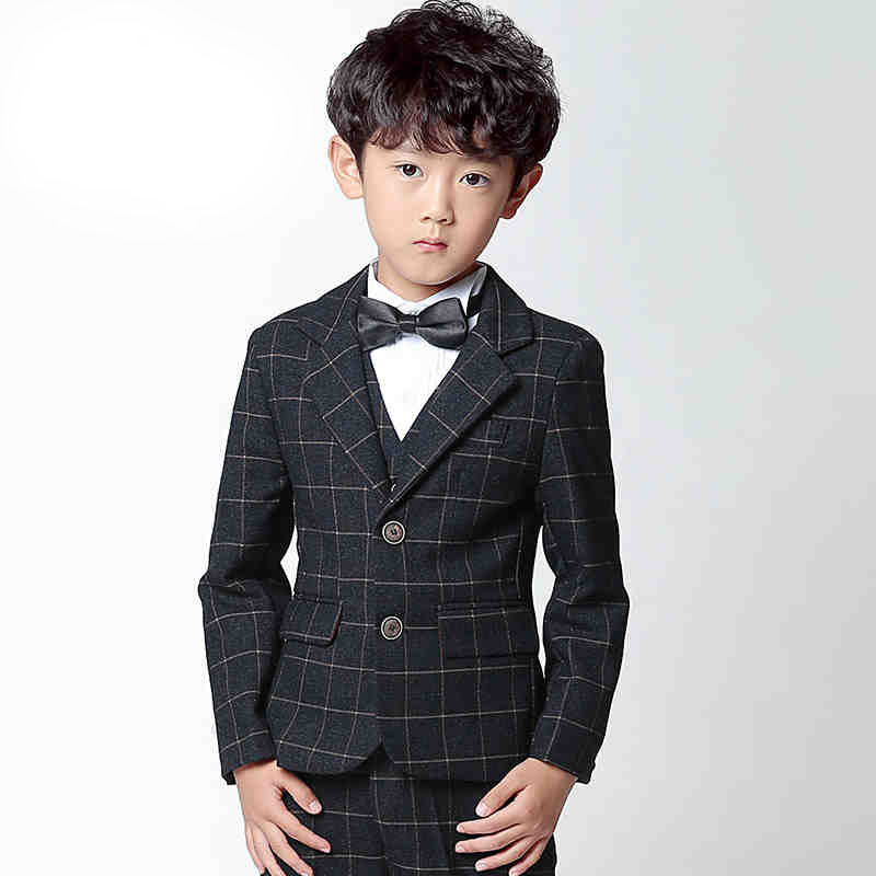 2018Suit style suits boy Suit sets Slim Fit Groom Tuxedos boy( jacket + pants+Vests+Tie+bow tie) British Institute style england style slim fit suit black size l