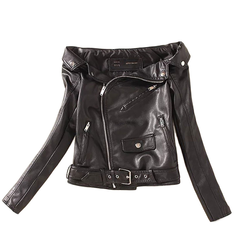 Lusumily Off Shoulder Moto Biker Shor Jacket Lady Slim Sexy Pu Faux   Leather   Jackets Women Jaqueta Couro Rock Cuir Femme Casaco