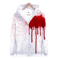 Halloween Men Zip Sweatshirts Blood 3D Printing Long Sleeve Hoodie Sweatshirt Pullover Tops Unisex Sportswear Zipper Coat