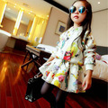 fashion nova arrived 2015 autumn winter Graffiti print jacket+tutu skirts 2pcs kids clothes set suit 2~7 age girls baby outfits