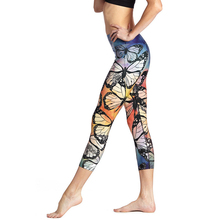 Women Yoga Pant Butterfly 3D Print High Waist Cropped Legging Quick Dry Gym Slim 3/4 Trousers Elastic Capris Dance Tights Sports